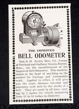 1902 OLD MAGAZINE PRINT AD, DAVIS CO, IMPROVED BELL ODOMETER FOR AUTOMOBILES!