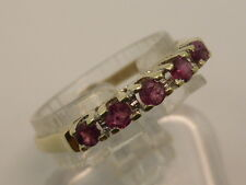 14ct Solid Yellow Gold & 5x Natural Ruby Eternity Style Dress Ring size M½