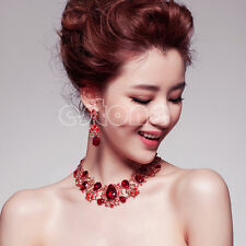 Wedding Bridal Rhinestone Necklace Pendant Earrings Set Silver Red Jewelry