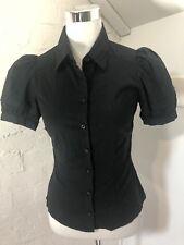 Miss Shop Size 8 Black Button Front Shirt Blouse Top Business Casual Stretch EUC