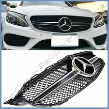 For 2015 On BENZ W205 New C350 C300 C-Sport Sedan C63 Type 1 Fin Front Grille