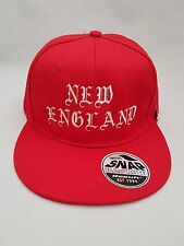 New England Embroidered  Snap back Cap Red.
