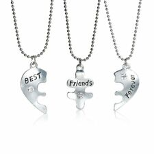 "3 pc Necklace Ball Chain Broken Heart Message "" Best Friends Forever "" Pendant C"