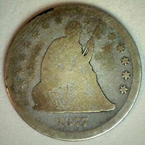 1877 CC Seated Liberty Silver Quarter 25 Cents US Type Coin AG Almost Good 25c