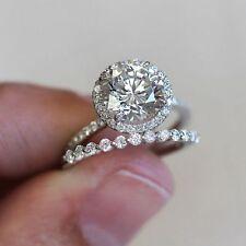 Matching Bridal Set 14K White Gold 1.48 Ct Sim Diamond Halo Solitaire Engagement