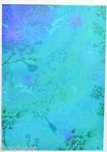 2 x A4 Sheets Blue Fern or Green fern Backing Paper 120gsm Acid Free NEW