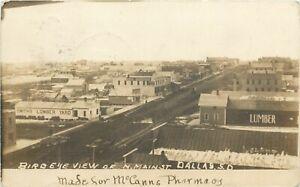 SD South Dakota Dallas Birds Eye View North Main Street RPPC 1911 Photo Postcard