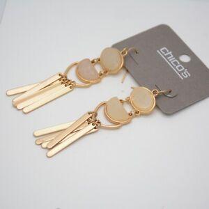 Chico's jewelry chandelier earrings unique gold tone hoop drop dangle fringe