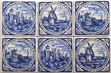 "Blue Delft Design Ceramic Tile 6"" x 6""  Castles Back Splash Kiln Fired Decor"