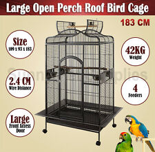 Extra Large Parrot Aviary Bird Cage Canary Cockatoo Open Perch Roof Wheel 183CM