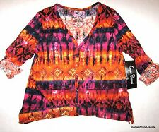 ONQUE NWT Womens L LARGE Orange Pink Print V-Neck Cardigan Shirt Top NEW