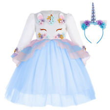 Unicorn Costume Girls Dress + Headband for Birthday Outfits Wedding Flower Girl