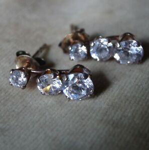 vintage 925 STERLING SILVER gilt cubic zirconia drop pierced earrings -Z37