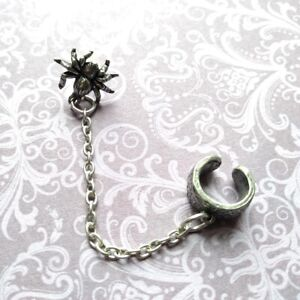 Alchemy Gothic Pewter Nidus Cuff Stud Spider Chain Single Earring UK Made