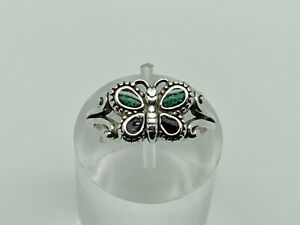 Relios Carolyn Pollack Vintage Sterling Silver Gemstone Butterfly Ring Size N