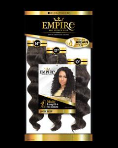 "Empire 100% Human Hair Multi Loose Deep 4pcs [Color #2] 10/12/14"" & 12/14/16"""
