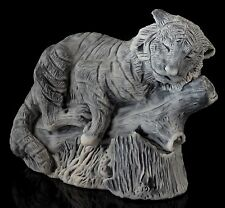 "Amur Siberian Tiger on Log Marble Figurine Stone Sculpture Russian Art Statue 4"""