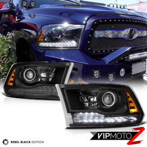 [VIP Exclusive]Rebel Black 13-18 Dodge Ram 1500-3500 LED DRL Projector Headlight