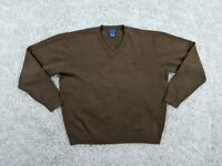 Faconnable Merino Wool Sweater Men Large Brown V-Neck Pullover Bird Classy