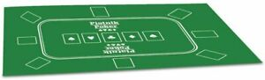 Texas Poker Hold'Em Layout Table Top Mat Pad Cover Casino Card Game Green Felt