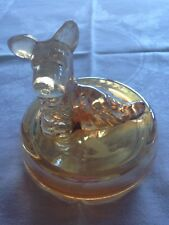 "VINTAGE MARIGOLD CARNIVAL GLASS DRESSER JAR BOX ""SCOTTIE DOG TRINKET BOX"" TOP"