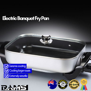 Electric Frypan Ceramic Coated Cooking Large Pan Roast Non Stick Kitchen Silver