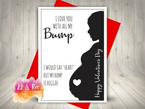 Funny Valentines Day Card   Love You With All My Bump   Daddy To Be