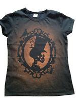 Acid Wash Grunge Ladies Womens Skull T Shirt goth rock punk emo top tee retro