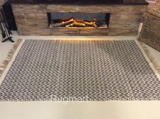 DARK GREY Chevron Handmade Recycled Cotton Jute Reversible Washable Kilim Rugs