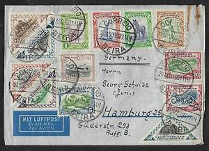 MOZAMBIQUE TO GERMANY AIR MAIL MULTIFRANKED  FULL SET COVER 1937