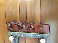Primitive Country Wood Votive Candle Holder Berries Stars Folk Art Accent Decor