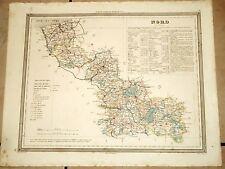 gravure aquarellée XIXe carte géographique le Nord