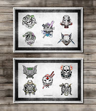 Suicide Squad Tattoo Flash Designs Art Joker Harley Quinn Movie Prop SXSW Poster