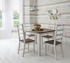 Table and 4 Chairs Dining Table in Dark Pine and White Canterbury Dining Set