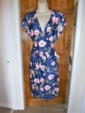 Lovely dark blue+pink floral wrap dress from YUMI size 10
