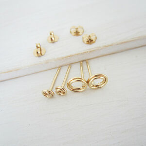 Two-Pair Set Open Circle Stud Earrings in Gold Filled - Handmade Women's Jewelry