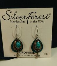 SILVER FOREST EARRINGS ~ SILVER AND TURQUOISE REG. $21 SURGICAL STEEL