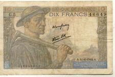 BILLET BANQUE 10 Frs MINEUR 11-06-1942 A G.5 état voir scan