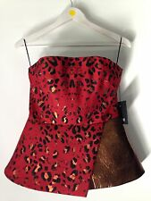 Josh Goot Peplum Corset Red Leopard and Leather Top Size M 245