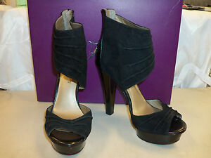 Fergie New Womens Chipper Black Suede Heels 8.5 M Shoes