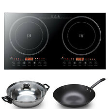 110V Electric Dual Induction Cooker Cooktop 1200W Countertop Double Burner Top