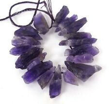 13-28mm Raw Natural Amethyst Nugget Rough Point Drop Beads (16)