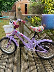 Apollo Cherry Lane Girls/kids Lilac/pink 16 inch bike With basket/multi coloured