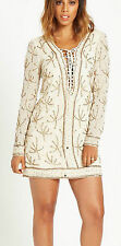 ROCHELLE HUMES LONG SLEEVED EMBELLISHED CREAM DRESS SIZE 18