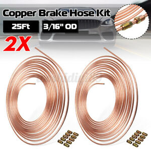 2pcs 25 Ft. Roll Coil 3/16'' OD Copper Nickel Brake Pipe Joiner Joint