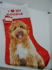 Red Satin I Love Heart My Doodle Labradoodle Dog Christmas Holiday Stocking New