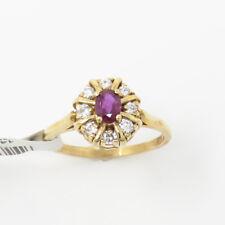 NYJEWEL Brand New 14k Yellow Gold Beautiful Ruby Diamond Ring