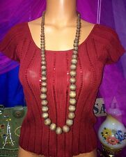 Laundry Plunge Copper Knit Metallic Top Foil Blouse Rayon Blend Shirt M