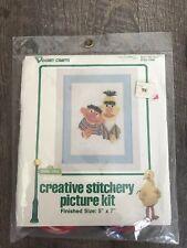 "Vintage Vogart Crafts Sesame Street Bert And Ernie Stitchery Picture Kit 5"" x 7"""