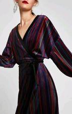 ZARA Boho Velvet Kimono Stripe Wrap Dress Jacket Purple Red Black Sz S